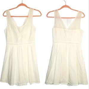 AEO White Cotton Georgette Eyelet Lace Mini Dress